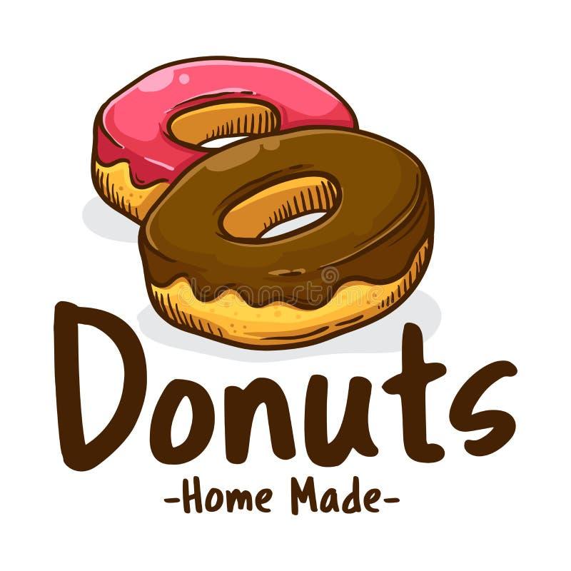 Εύγευστο γλυκό εικονίδιο καταστημάτων Donuts διανυσματική απεικόνιση
