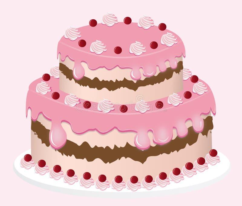 Εύγευστο διάνυσμα κέικ που τίθεται στο ρόδινο υπόβαθρο στοκ εικόνες