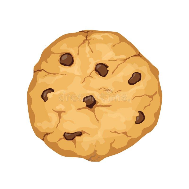 Εύγευστο διανυσματικό μπισκότο κινούμενων σχεδίων με τα τσιπ σοκολάτας που απομονώνονται επάνω διανυσματική απεικόνιση