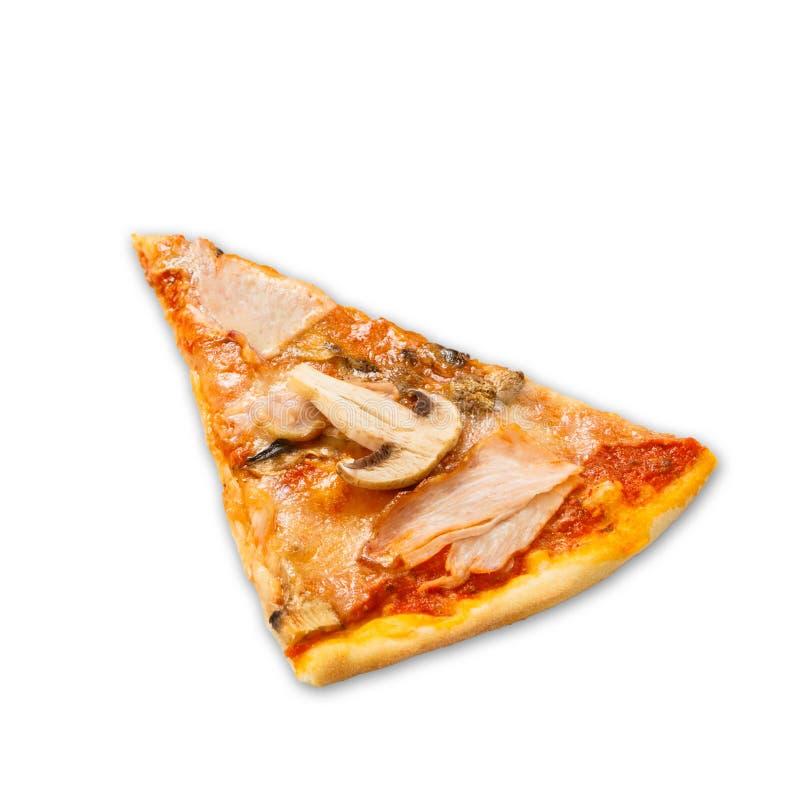 Εύγευστο κομμάτι της πίτσας με τα μανιτάρια και το καπνισμένο κοτόπουλο στοκ εικόνα