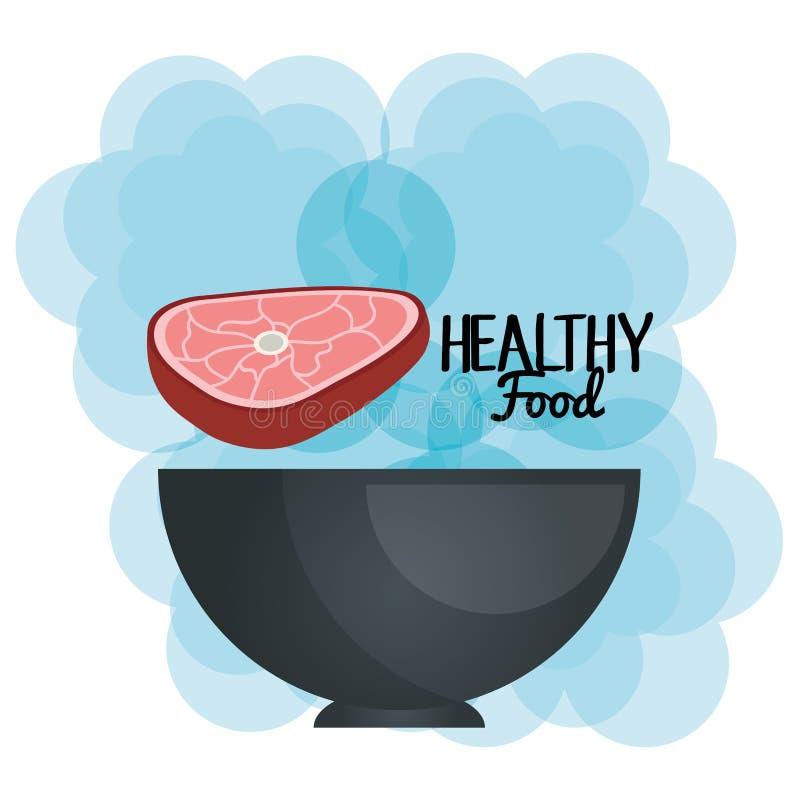 Εύγευστο κρέας βόειου κρέατος στα υγιή τρόφιμα κύπελλων ελεύθερη απεικόνιση δικαιώματος