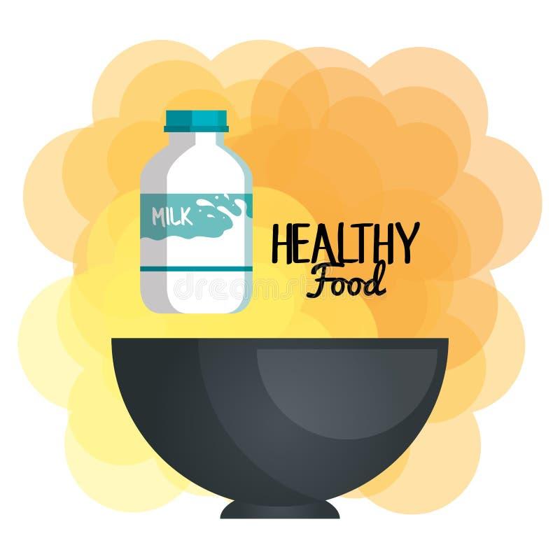 Εύγευστο μπουκάλι γάλακτος στα υγιή τρόφιμα κύπελλων διανυσματική απεικόνιση