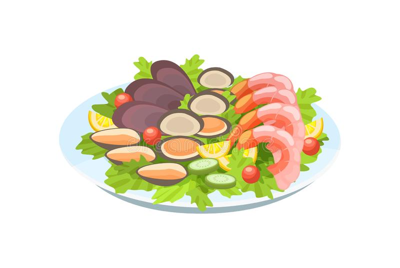 Εύγευστο πιάτο - γαρίδες και μύδια, με τη λεπτή σαλάτα, πράσινα, λεμόνια διανυσματική απεικόνιση