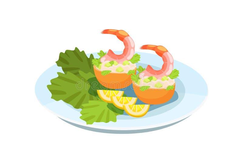 Εύγευστο πιάτο - γαρίδες, με μια λεπτή σαλάτα, πράσινα και λεμόνια ελεύθερη απεικόνιση δικαιώματος