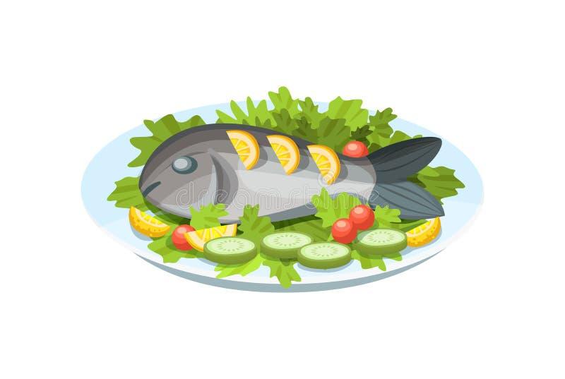 Εύγευστο πιάτο - τρυφερό κρέας ψαριών, με τα πράσινα, το λεμόνι και τα λαχανικά διανυσματική απεικόνιση