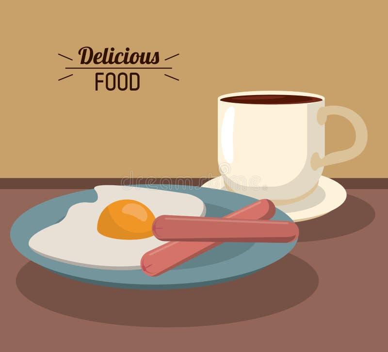 Εύγευστο πρόγευμα τροφίμων με τα λουκάνικα αυγών τηγανητών και το φλυτζάνι καφέ διανυσματική απεικόνιση