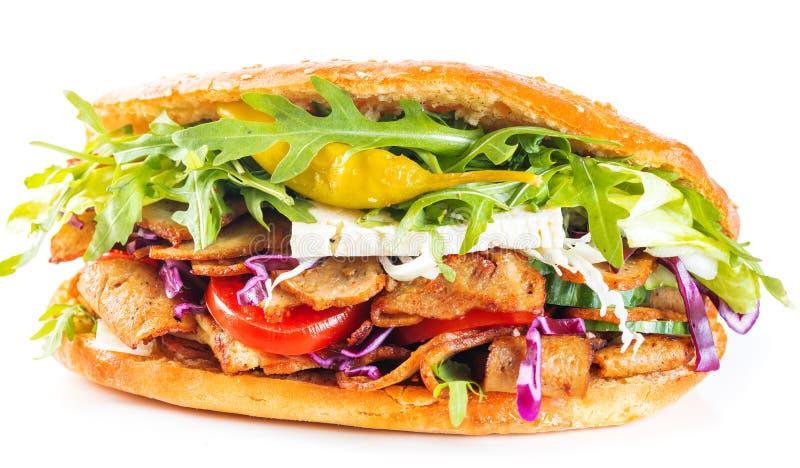 Εύγευστο σάντουιτς kebab που απομονώνεται στοκ φωτογραφία