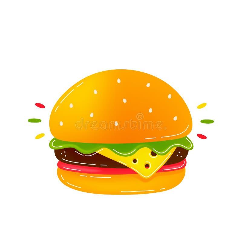 Εύγευστο burger ομορφιάς Σύγχρονος καθιερώνων τη μόδα ελεύθερη απεικόνιση δικαιώματος