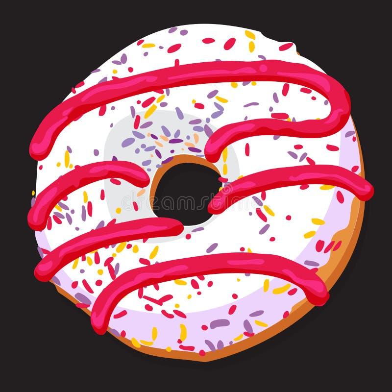 Εύγευστο doughnut με τη ζωηρόχρωμη τήξη διανυσματική απεικόνιση