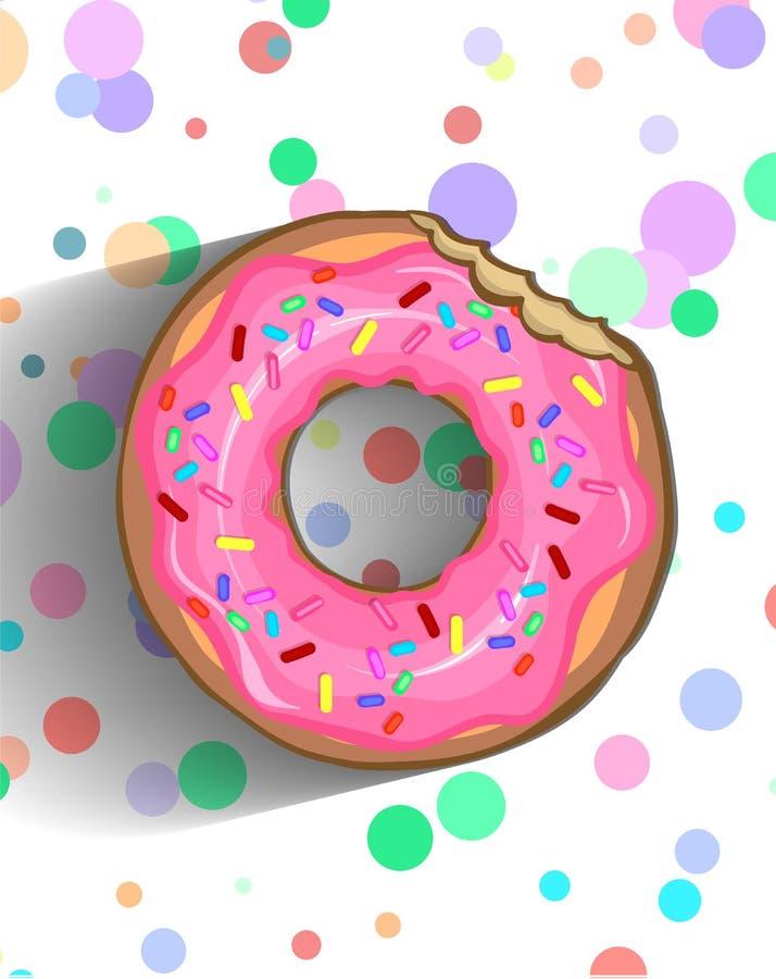 Εύγευστο doughnut σε ένα ροζ που παγώνει με ψεκάζει και πελέκησε τη σοκολάτα στοκ εικόνες με δικαίωμα ελεύθερης χρήσης