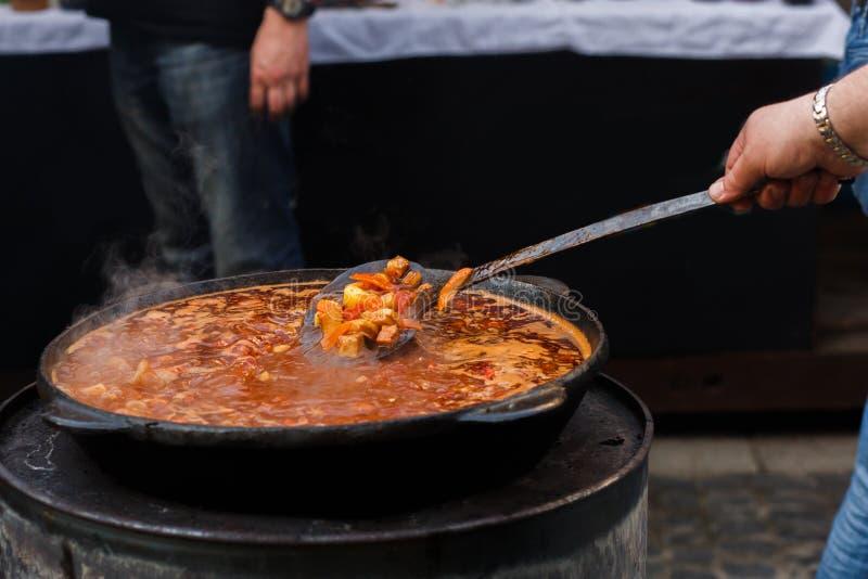 Εύγευστο goulash στο μεγάλο κύπελλο με το κουτάλι στην ανοικτή σχάρα, υπαίθρια στοκ φωτογραφίες με δικαίωμα ελεύθερης χρήσης