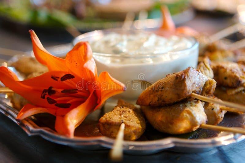 εύγευστο kabob κοτόπουλου ορεκτικών στοκ φωτογραφία