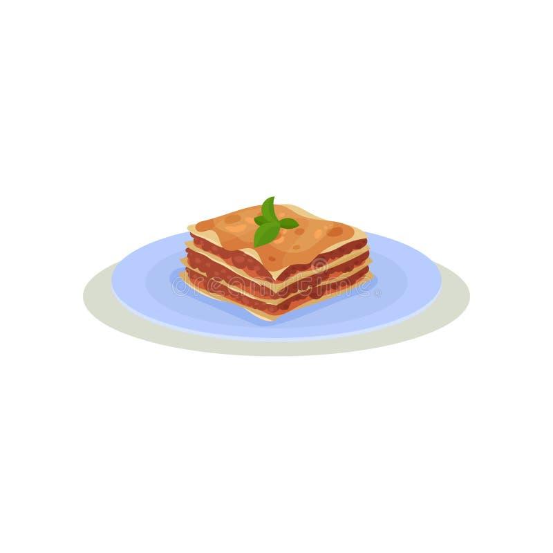 Εύγευστο lasagna με τα πράσινα φύλλα βασιλικού στην κορυφή ιταλικός παραδοσιακός τ Θέμα μαγειρέματος Επίπεδο διανυσματικό εικονίδ ελεύθερη απεικόνιση δικαιώματος