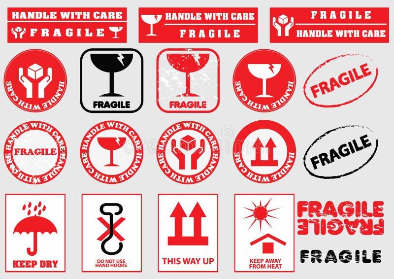 Εύθραυστα σημάδια για τη συσκευασία ελεύθερη απεικόνιση δικαιώματος
