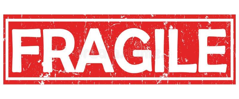 Εύθραυστος - κόκκινα και άσπρα ετικέτα/γραμματόσημο απεικόνιση αποθεμάτων