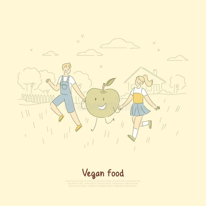 Εύθυμα μικρά παιδιά σε ετοιμότητα εκμετάλλευσης περίπατων, αγοριών και κοριτσιών με το εύγευστο φιλικό μήλο, vegan έμβλημα τροφίμ ελεύθερη απεικόνιση δικαιώματος