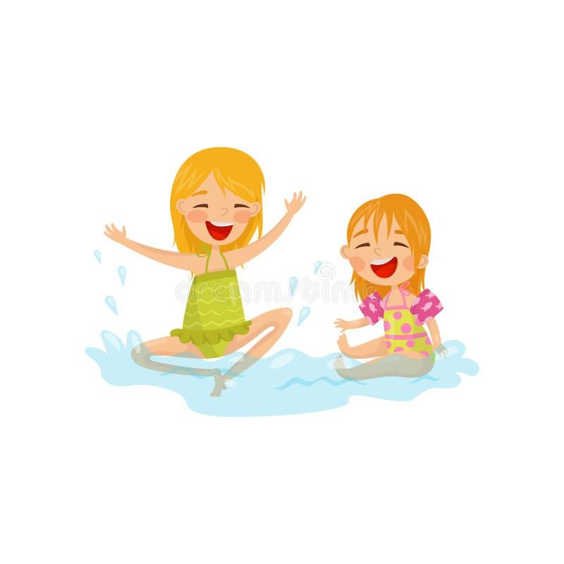 Εύθυμα παιδιά που κάνουν τους παφλασμούς νερού Δύο μικρά κορίτσια που έχουν τη διασκέδαση εν πλω Θερινή αναψυχή Ζωηρόχρωμο επίπεδ διανυσματική απεικόνιση