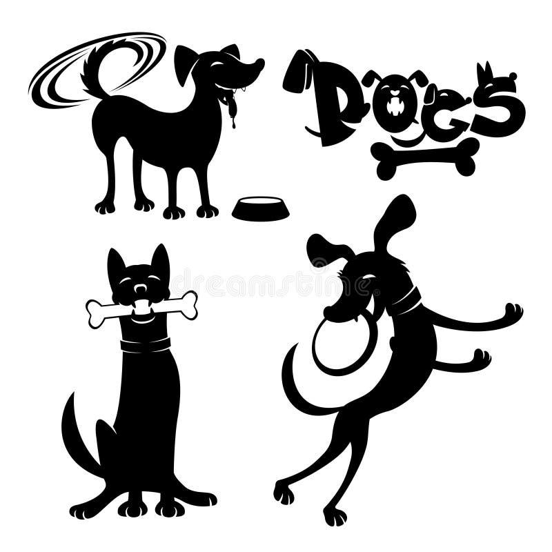 Εύθυμα, χαριτωμένα σκυλιά ελεύθερη απεικόνιση δικαιώματος