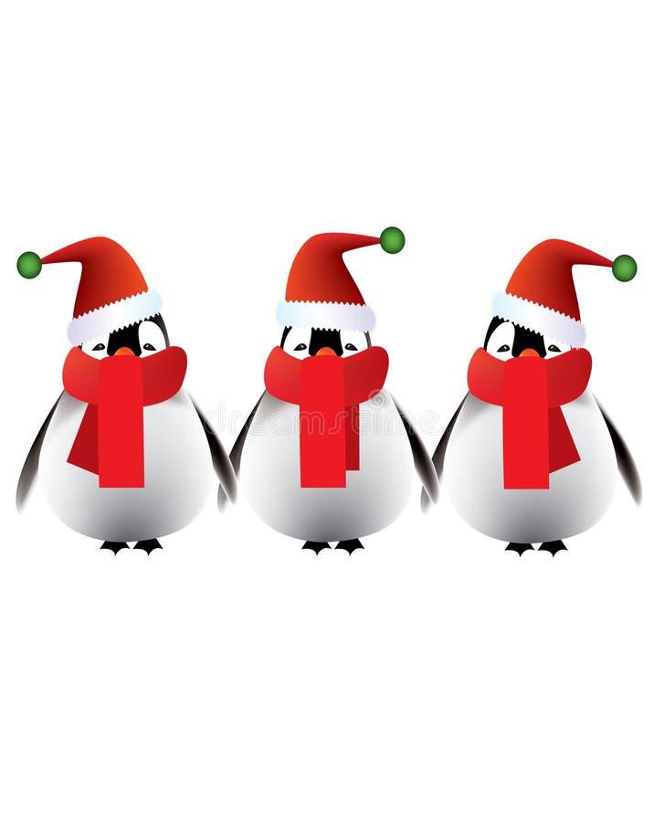 εύθυμα penguins χαιρετισμών Χρισ διανυσματική απεικόνιση