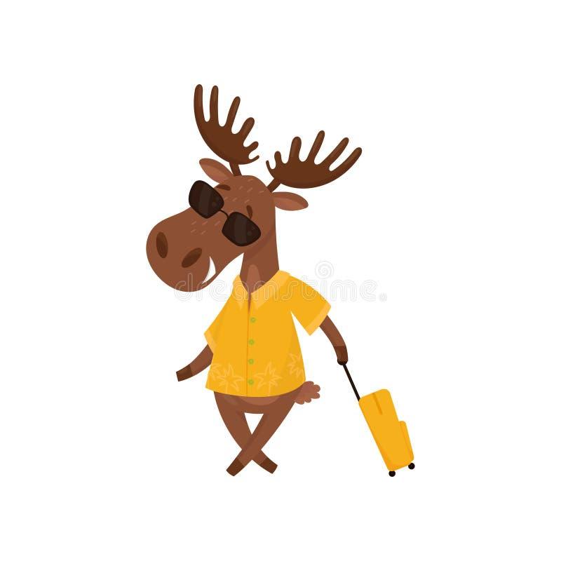 Εύθυμες άλκες με τη βαλίτσα που πηγαίνει στις διακοπές Εξανθρωπισμένες άλκες στα γυαλιά ηλίου και το κίτρινο πουκάμισο Επίπεδο δι απεικόνιση αποθεμάτων