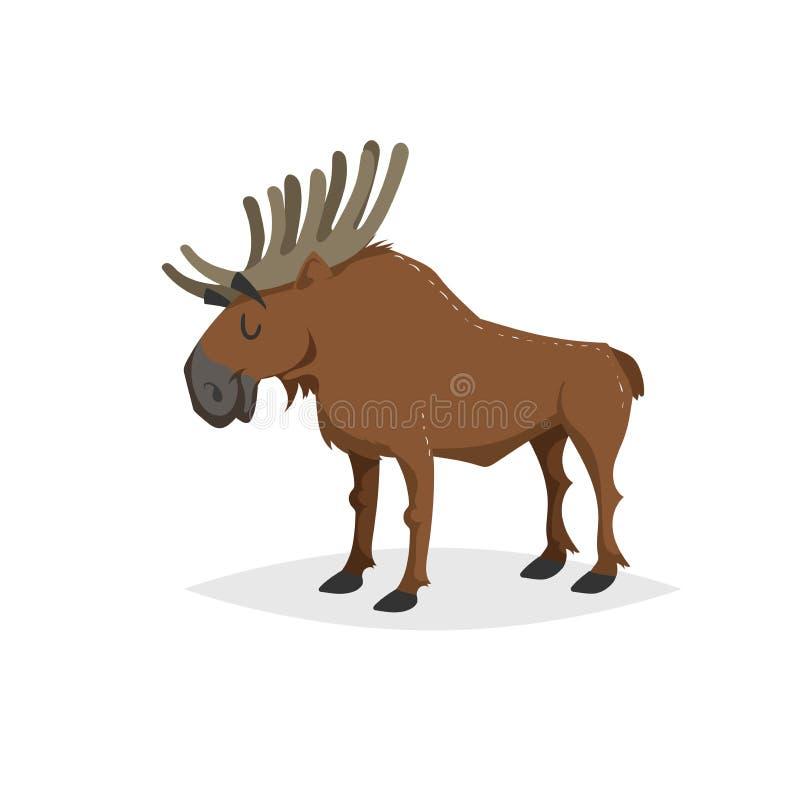 Εύθυμες άλκες στάσης κινούμενων σχεδίων Δασικό ζώο της Ευρώπης και της Βόρειας Αμερικής Επίπεδο με το απλό καθιερώνον τη μόδα σχέ ελεύθερη απεικόνιση δικαιώματος