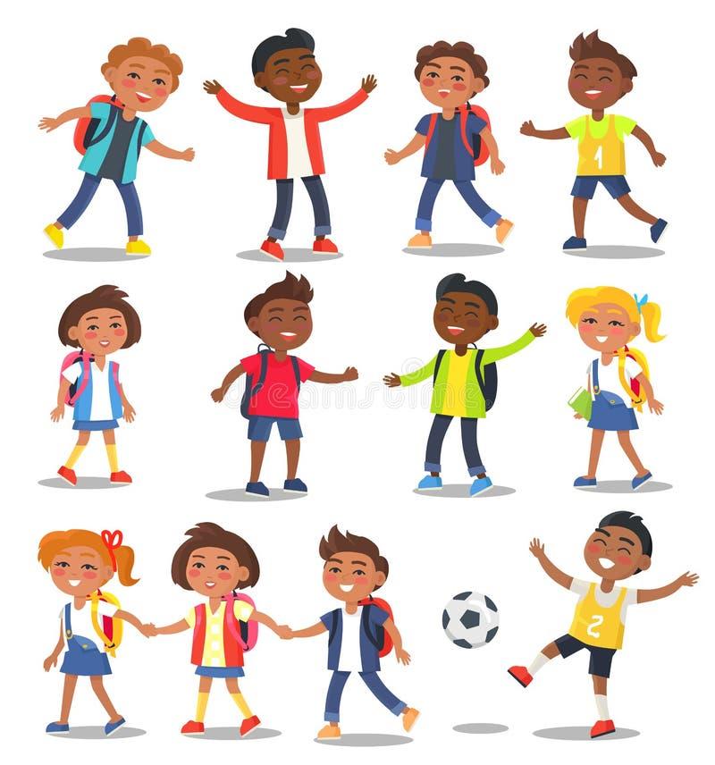 Εύθυμες απομονωμένες παιδιά σχολείου απεικονίσεις ελεύθερη απεικόνιση δικαιώματος
