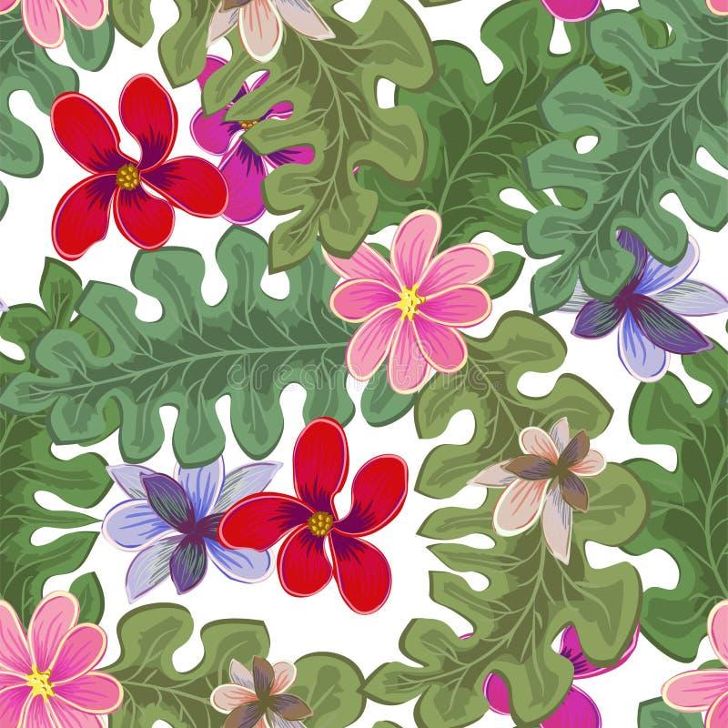 Εύθυμη άνευ ραφής ταπετσαρία σχεδίων παραλιών των τροπικών σκούρο πράσινο φύλλων του strelitzia πουλιών φοινίκων και λουλουδιών τ ελεύθερη απεικόνιση δικαιώματος