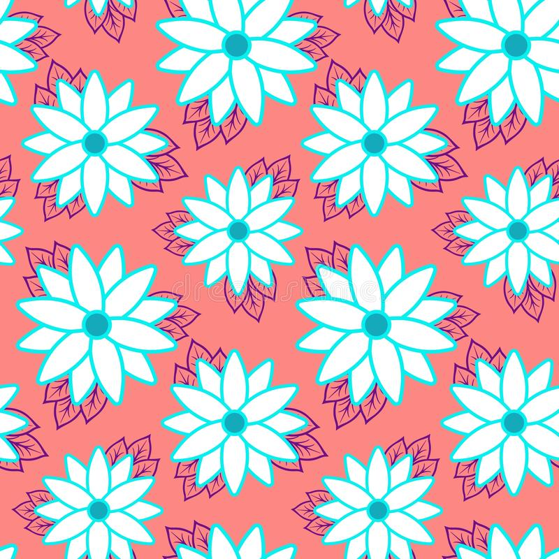 Εύθυμη άνευ ραφής ταπετσαρία σχεδίων παραλιών των τροπικών σκούρο πράσινο φύλλων του strelitzia πουλιών φοινίκων και λουλουδιών τ απεικόνιση αποθεμάτων