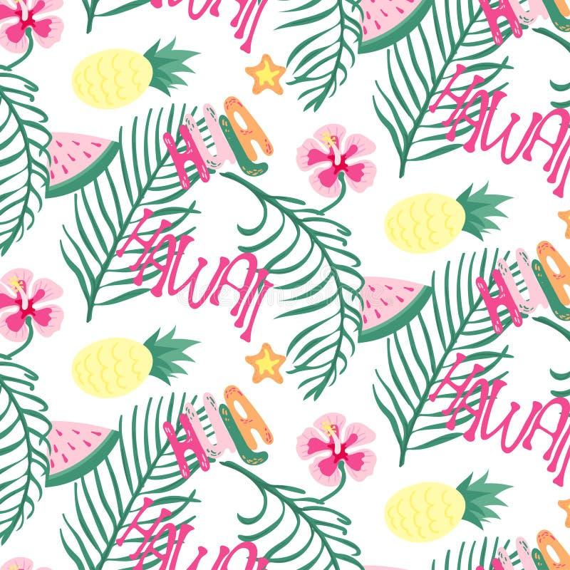 Εύθυμη άνευ ραφής ταπετσαρία σχεδίων της Χαβάης παραλιών των τροπικών σκούρο πράσινο φύλλων των φοινίκων και του πουλιού λουλουδι απεικόνιση αποθεμάτων