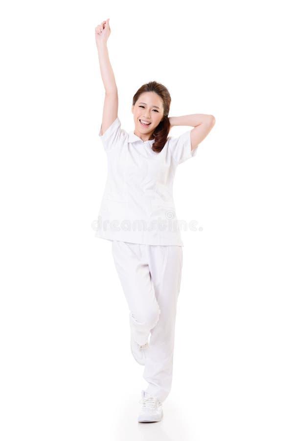 Εύθυμη ασιατική νοσοκόμα στοκ εικόνες