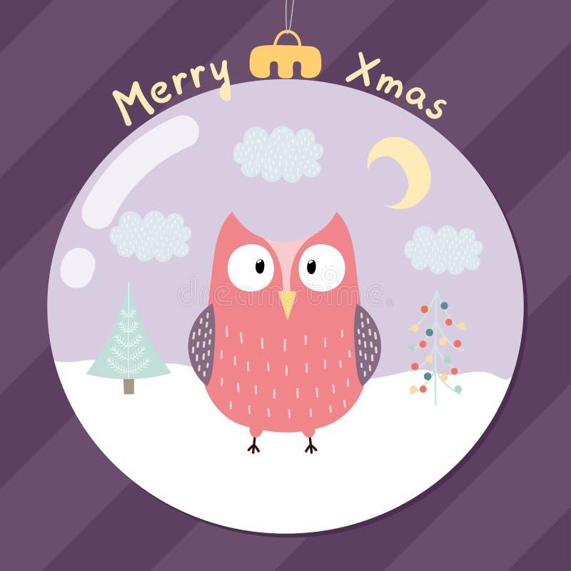 Εύθυμη ευχετήρια κάρτα Χριστουγέννων με μια χαριτωμένη κουκουβάγια απεικόνιση αποθεμάτων