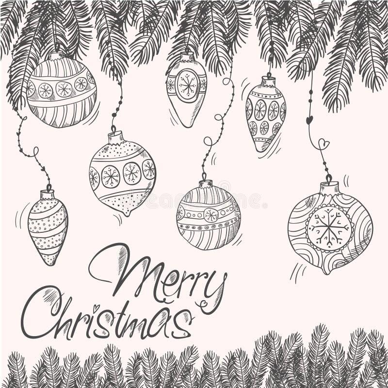 Εύθυμη κάρτα cristmas με τους κλάδους και τις διακοσμήσεις ελεύθερη απεικόνιση δικαιώματος