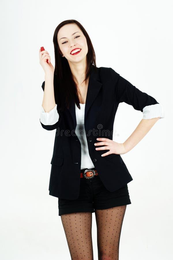 εύθυμη κινητή τηλεφωνική γυναίκα στοκ φωτογραφία με δικαίωμα ελεύθερης χρήσης