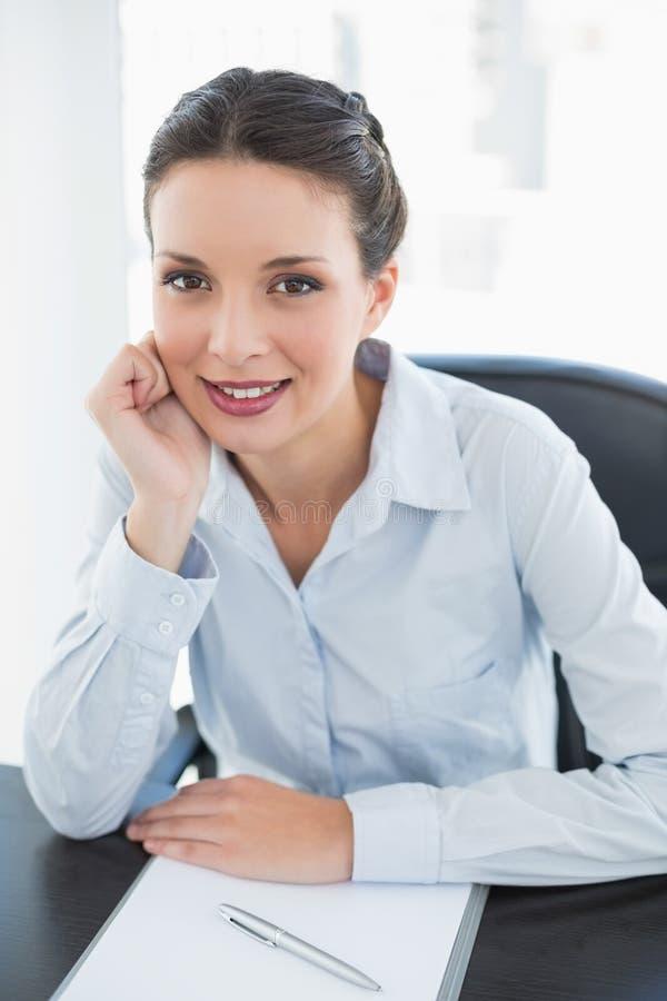 Εύθυμη μοντέρνη επιχειρηματίας brunette που κρατά το κεφάλι της και που εξετάζει τη κάμερα στοκ φωτογραφίες με δικαίωμα ελεύθερης χρήσης