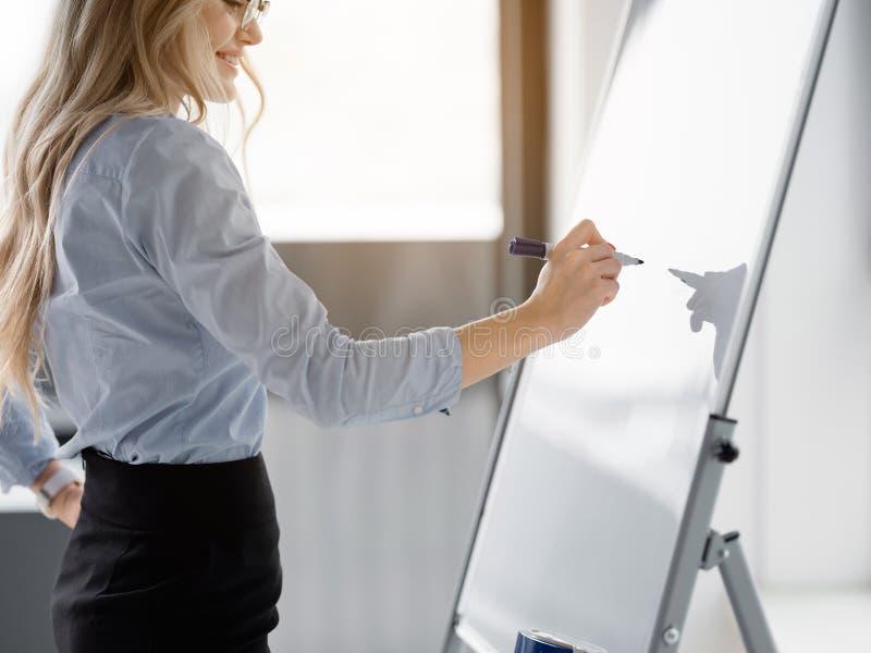 Εύθυμη νέα γυναίκα που δημιουργεί το νέο επιχειρηματικό σχέδιο στοκ εικόνες με δικαίωμα ελεύθερης χρήσης