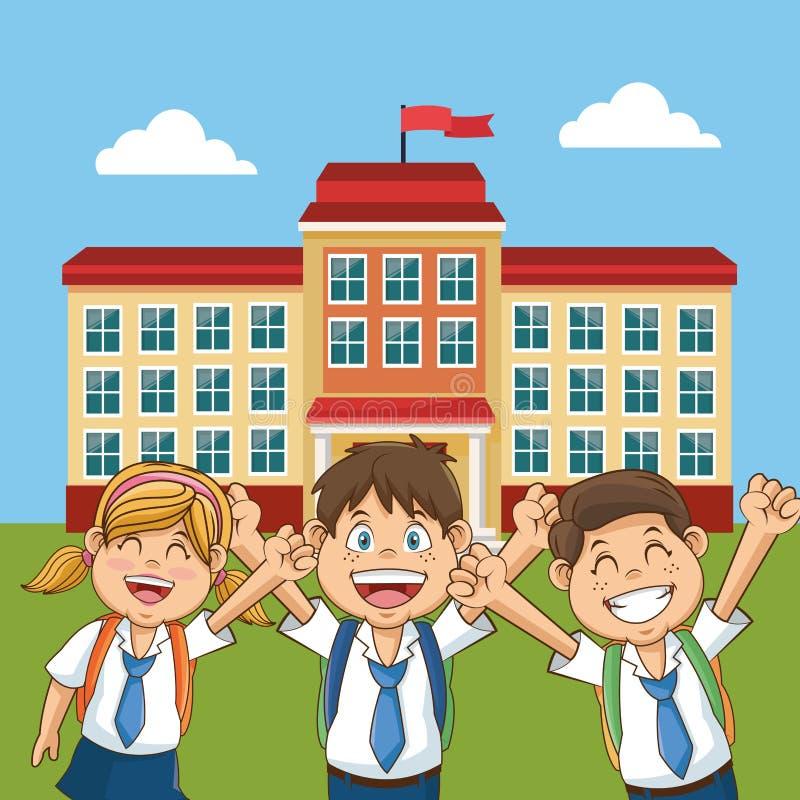 Εύθυμη πίσω αυλή σχολικού κτιρίου σπουδαστών απεικόνιση αποθεμάτων