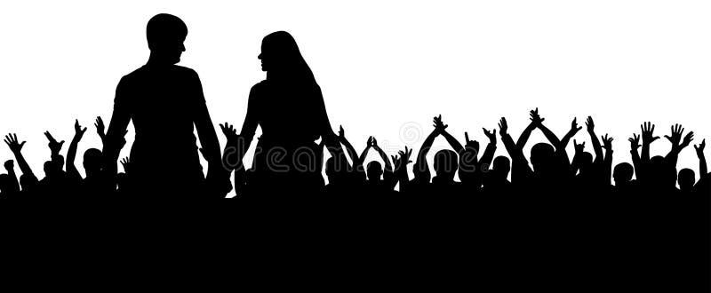 Εύθυμη σκιαγραφία πλήθους Οι άνθρωποι κόμματος, επιδοκιμάζουν Συναυλία χορού ανεμιστήρων, disco Νέο ζεύγος σε ένα κόμμα ελεύθερη απεικόνιση δικαιώματος