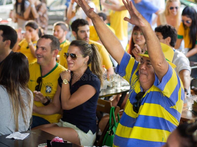 Εύθυμοι ανεμιστήρες της Βραζιλίας που προσέχουν τον αγώνα ποδοσφαίρου Παγκόσμιου Κυπέλλου στη TV σε έναν φραγμό στοκ εικόνες με δικαίωμα ελεύθερης χρήσης