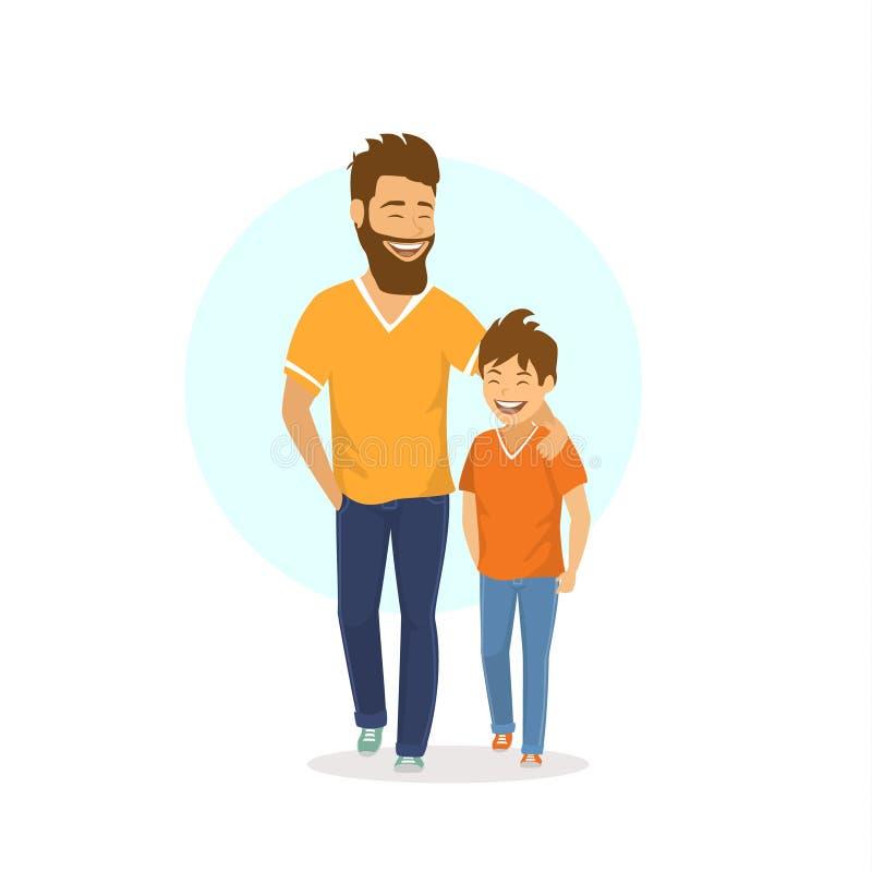Εύθυμοι χαμογελώντας γελώντας πατέρας και γιος που περπατούν μαζί, ομιλία διανυσματική απεικόνιση