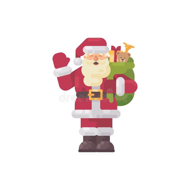 Εύθυμος Άγιος Βασίλης που κυματίζει το χέρι του χαρακτήρας Χριστουγέννων διανυσματική απεικόνιση