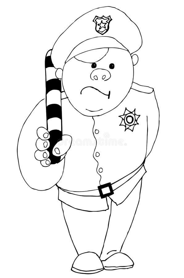 Εύθυμος αστυνομικός με μια ριγωτή ράβδο διανυσματική απεικόνιση