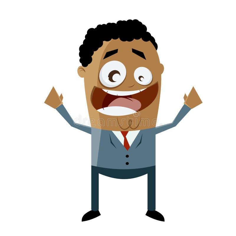 Εύθυμος επιχειρηματίας αφροαμερικάνων ελεύθερη απεικόνιση δικαιώματος