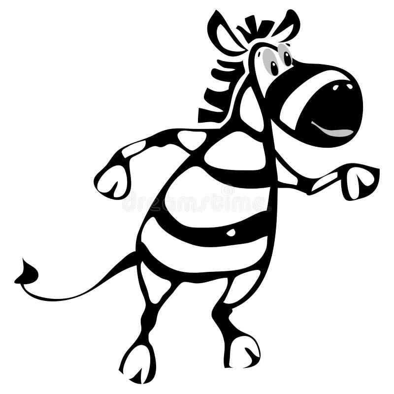 Εύθυμος ζέβρα χορός χαρακτήρα κινουμένων σχεδίων διανυσματική απεικόνιση