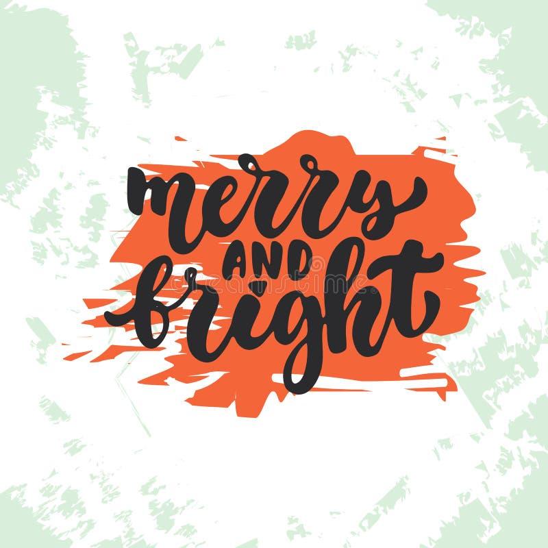 Εύθυμος και φωτεινός - τα Χριστούγεννα εγγραφής και η νέα καλλιγραφία διακοπών έτους διατυπώνουν στο υπόβαθρο σκίτσων Διασκέδαση απεικόνιση αποθεμάτων