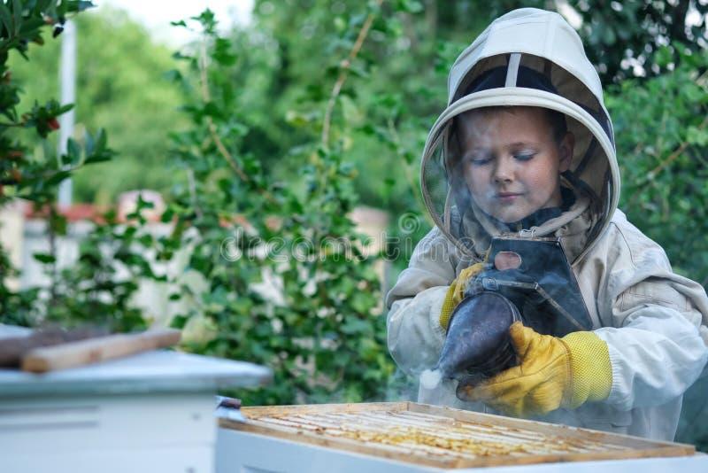 Εύθυμος μελισσοκόμος αγοριών στο προστατευτικό κοστούμι κοντά στην κυψέλη Κηρήθρα με το μέλι Έννοια οργανικής τροφής Το πιό χρήσι στοκ φωτογραφία