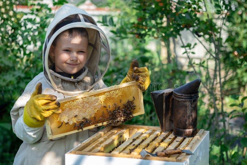 Εύθυμος μελισσοκόμος αγοριών στο προστατευτικό κοστούμι κοντά στην κυψέλη Κηρήθρα με το μέλι Έννοια οργανικής τροφής Το πιό χρήσι στοκ φωτογραφία με δικαίωμα ελεύθερης χρήσης