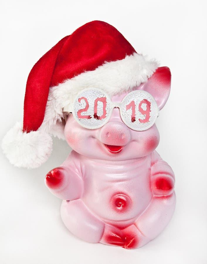 Εύθυμος ρόδινος χοίρος στην ΚΑΠ ενός νέου έτους και γυαλιά με την επιγραφή 2019 στοκ φωτογραφία με δικαίωμα ελεύθερης χρήσης
