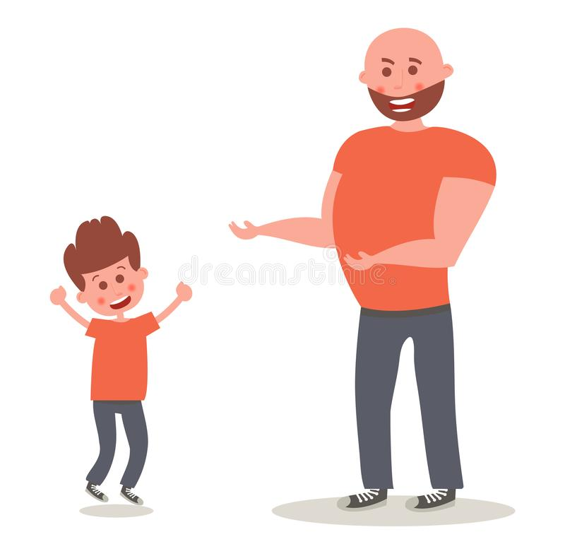 Εύθυμος χαμογελώντας πατέρας με το γιο Ευτυχής γιος που πηδά τη διανυσματική απεικόνιση ελεύθερη απεικόνιση δικαιώματος