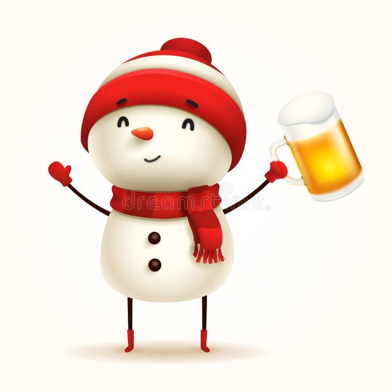 Εύθυμος χιονάνθρωπος με την μπύρα απομονωμένος απεικόνιση αποθεμάτων