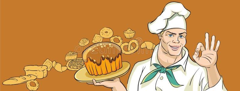 Εύθυμος Baker με το κέικ ελεύθερη απεικόνιση δικαιώματος